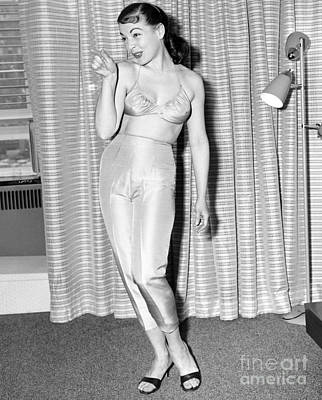 Betty Carr Modeling Underwear In Apartment. 1956. Art Print by Anthony Calvacca