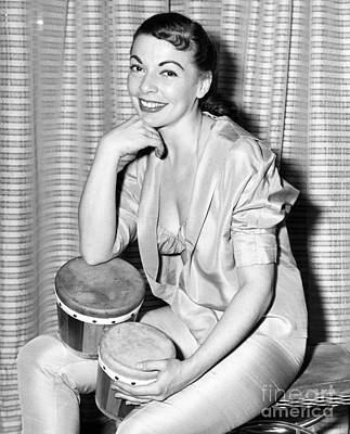 Betty Carr Modeling With Drums In Apartment. 1956. Art Print by Anthony Calvacca