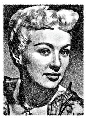Grable Drawing - Betty Grable, Vintage Actress And Pinup By Js by John Springfield