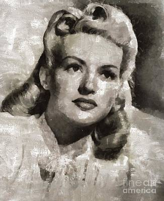 Grable Painting - Betty Grable, Vintage Actress And Pinup By Mary Bassett by Mary Bassett