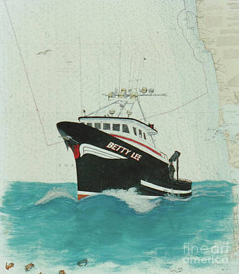 Chart Painting - Betty Lee Wa Crab Fish Boat Nautical Chart Map by Cathy Peek