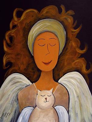 Cat Art Painting - Betty Lou And Angel Too by Debbie Criswell