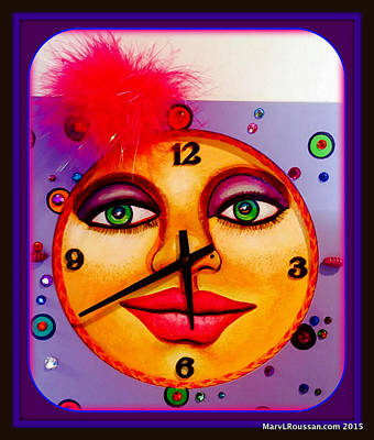 Clock Face Mixed Media - Betty The Bedazzled Clock Sold by MarvL Roussan