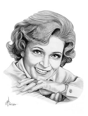 Famous Faces Drawing - Betty White by Murphy Elliott