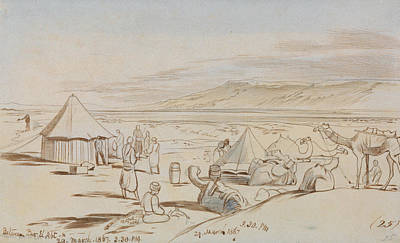 Drawing - Between Bir El Abt by Edward Lear