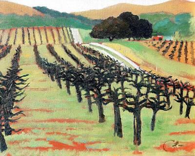 California Vineyard Painting - Between Crops by Gary Coleman