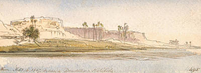 Drawing - Between Dendour And Kalabshe by Edward Lear