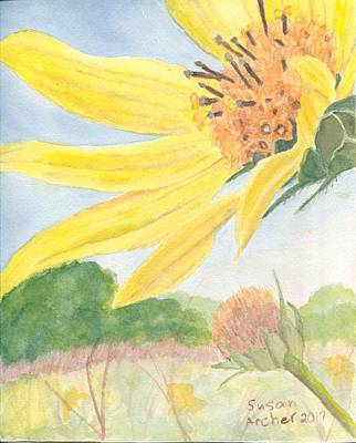 Wildflower Painting - Between Earth And Sky With Giant Sunflower Heliantheus Giganteus  by Susan Archer