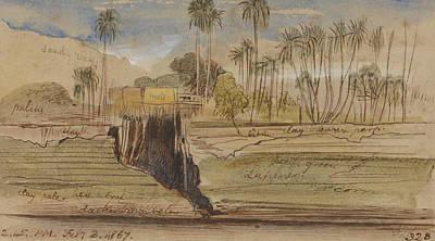 Drawing - Between Ibreem And Wady Halfeh by Edward Lear