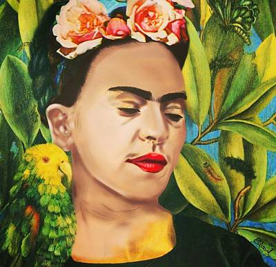 Frida Drawing - Between Me And Frida by Lody Badie