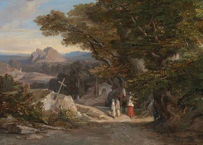 Italian Landscape Painting - Between Olavano L'civitella by Edward Lear