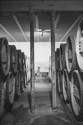 Vintage Wine Lovers Photograph - Between The Barrels - Vertical by Georgia Fowler