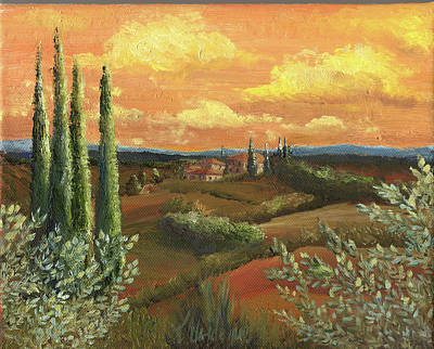 Tuscan Sunset Painting - Between The Olive Trees by Leah Wiedemer