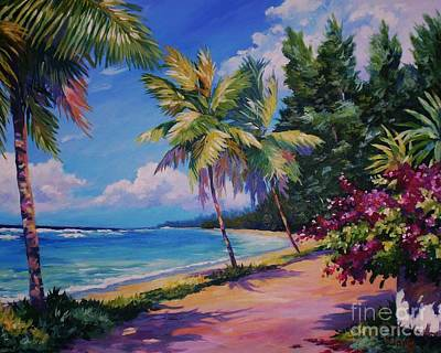 Island Painting - Between The Palms 20x16 by John Clark