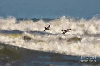 Pelican Digital Art - Between The Waves by Lois Bryan