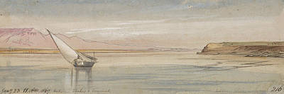 Drawing - Between Thebes And Erment by Edward Lear