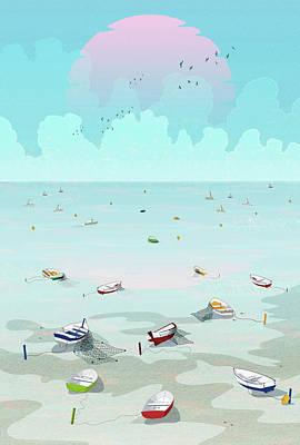 Andalusian Digital Art - Between Two Waters by Noel DelMar