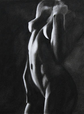 Nude Figure Drawing - Between Worlds - Charcoal by Blue Muse Fine Art