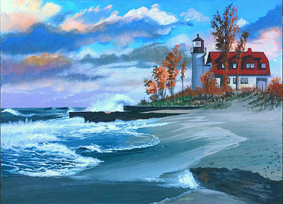 Painting - Betzie Lighthouse by Robert Korhonen