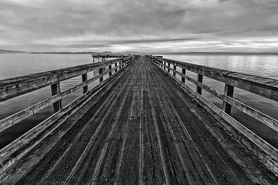 Vancouver Island Photograph - Bevan Fishing Pier - Black And White by Mark Kiver