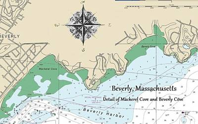Mixed Media - Beverly Cove Nautical Map by Jeannine Selig
