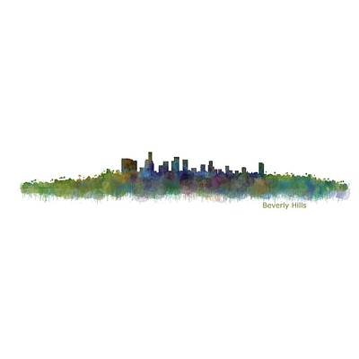 City Painting - Beverly Hills City In La City Skyline Hq V2 by HQ Photo