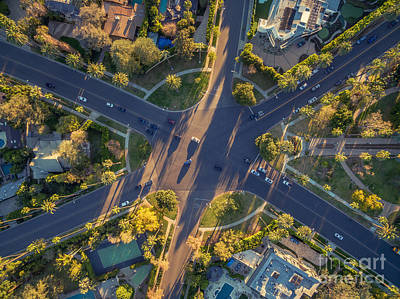 Beverly Hills Streets, Aerial View Art Print