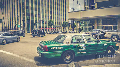Architecture Photograph - Beverly Hills - Taxi - Wilshire Boulevard Intersection II by Pete Edmunds