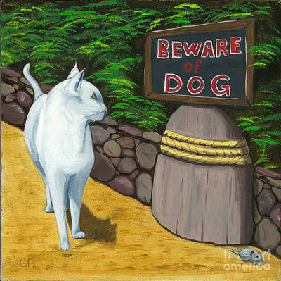 Art Print featuring the painting Beware Of Dog by Gail Finn