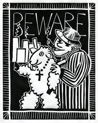 Linocut Drawing - Beware by Sheryl Karas