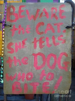 Photograph - Beware The Cat She Tells The Dog Who To Bite Sign In New Orleans Louisiana by Michael Hoard