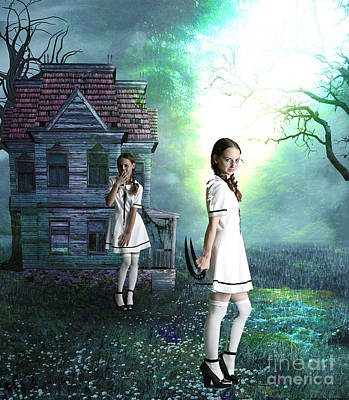 Old School House Mixed Media - Beware The Evil Twin by Tammera Malicki-Wong