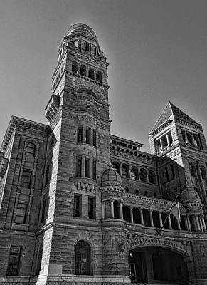 Photograph - Bexar County Courthouse Black And White by Judy Vincent