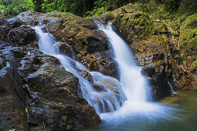 Bexon Waterfall In Color- St Lucia  Art Print by Chester Williams