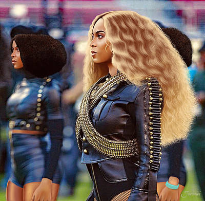 Jay Z Digital Art - Beyonce Black Panther Drawing by Jovemini ART