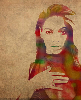 Beyonce Knowles Mixed Media - Beyonce Knowles Watercolor Portrait by Design Turnpike