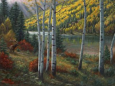 Sun Rays Painting - Beyond The Aspens by Asa Gochenour
