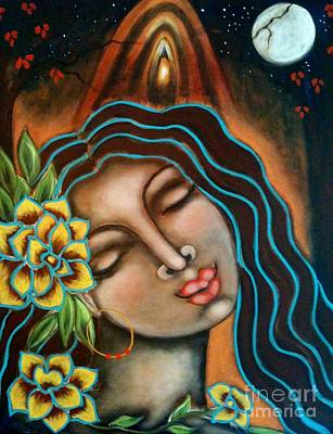 Sacred Feminine Moon Painting - Beyond The Beyond by Maya Telford