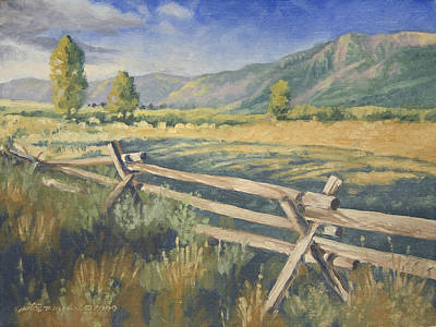 Peter Muzyka Wall Art - Painting - Beyond The Fence by Peter Muzyka