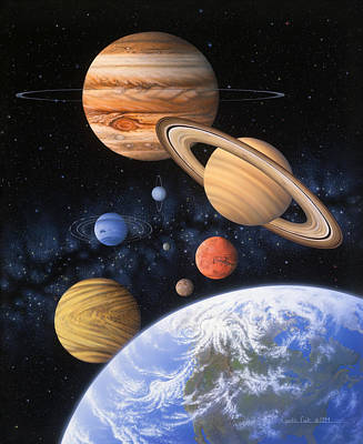 Outer Space Painting - Beyond The Home Planet by Lynette Cook