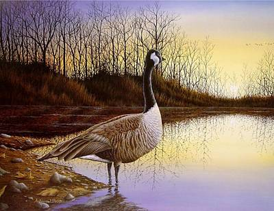 Waterfowl Painting - Beyond The Horizon by Anthony J Padgett