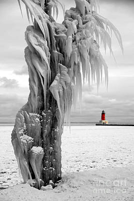 Photograph - Beyond The Ice Reaper's Grasp -  Menominee North Pier Lighthouse by Mark J Seefeldt