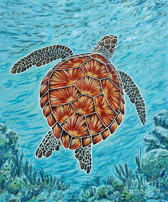 Green Sea Turtle Painting - Beyond The Reef by Danielle  Perry