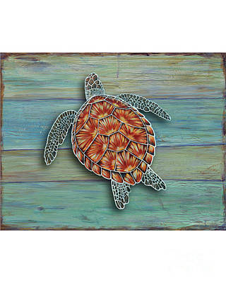 Green Sea Turtle Painting - Beyond The Sea 3 by Danielle Perry