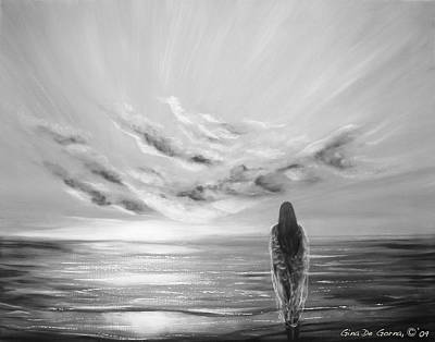 Painting - Beyond The Sunset Black And White by Gina De Gorna