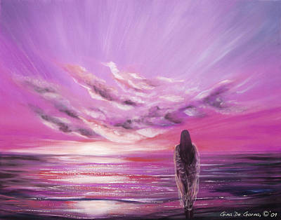 Painting - Beyond The Sunset In Purple Color by Gina De Gorna