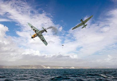 Art Print featuring the photograph Bf109 Down In The Channel by Gary Eason