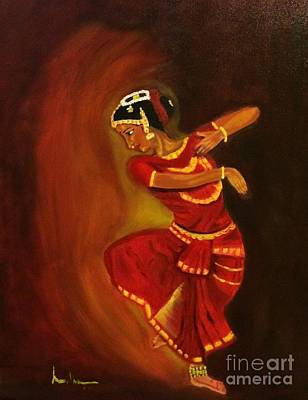 Painting - Bharatnatyam Dancer by Brindha Naveen