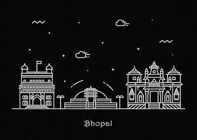 Abstract Landscape Drawing - Bhopal Skyline Travel Poster by Inspirowl Design