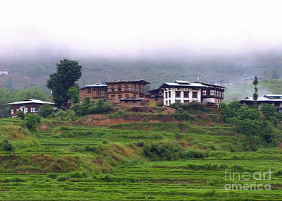 Bhutan Villages Places Of Worshiop Buddhist Monarchy  Posters Landmark Photography Canvas Greeting C Original